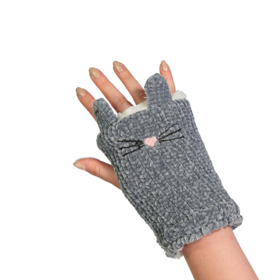 Women's Kitty Chenille Fingerless Gloves with Pop-up Ears