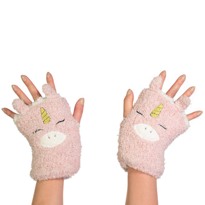 Women's Unicorn Fingerless Gloves with Pop-up Ears