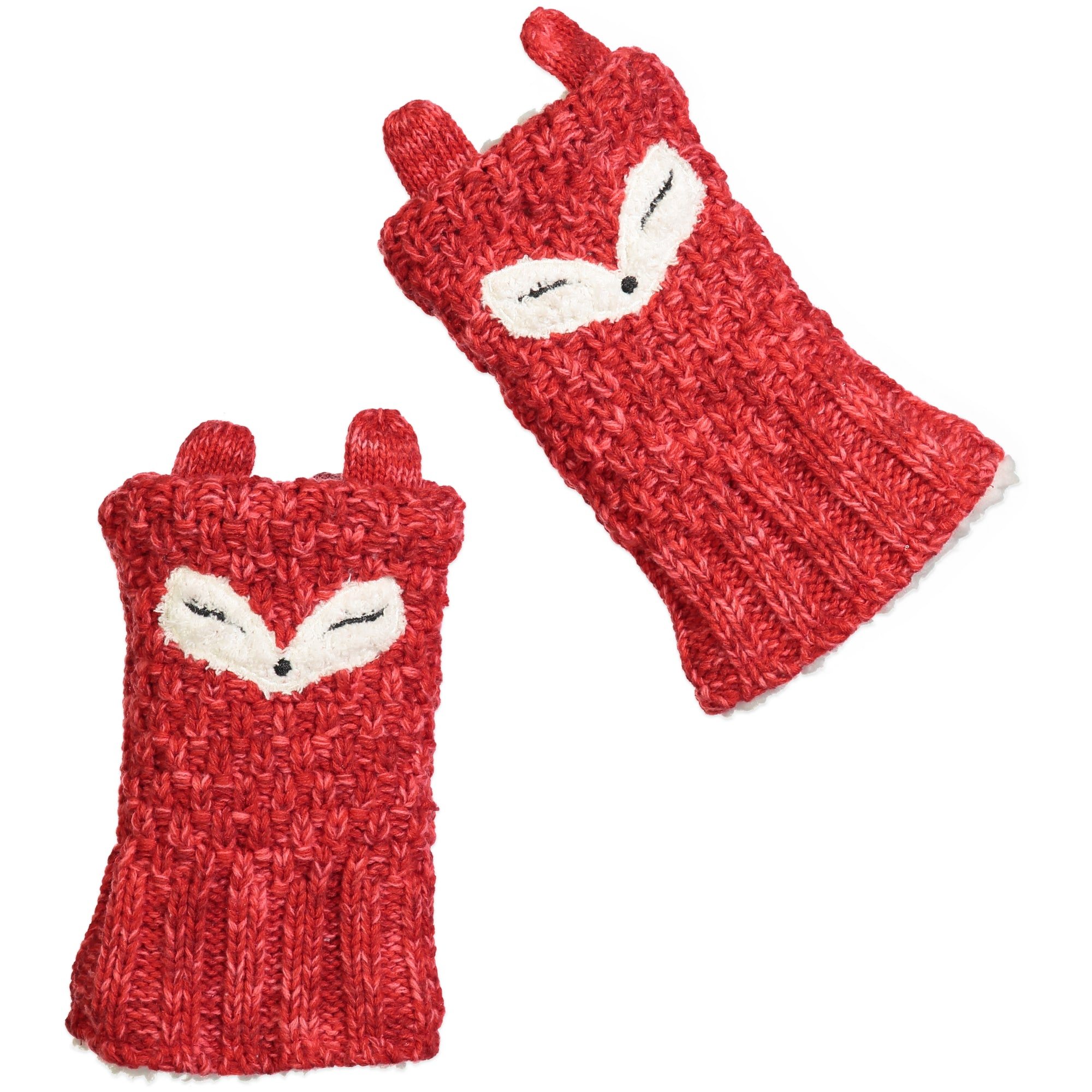 Women's Lil' Fox Knit Fingerless Gloves with Pom-Pom Ears