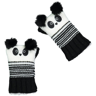 Women's Panda Knit Fingerless Gloves with Pom-Pom Ears