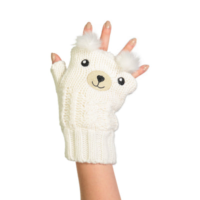 Women's Bear Knit Fingerless Gloves with Pom-Pom Ears