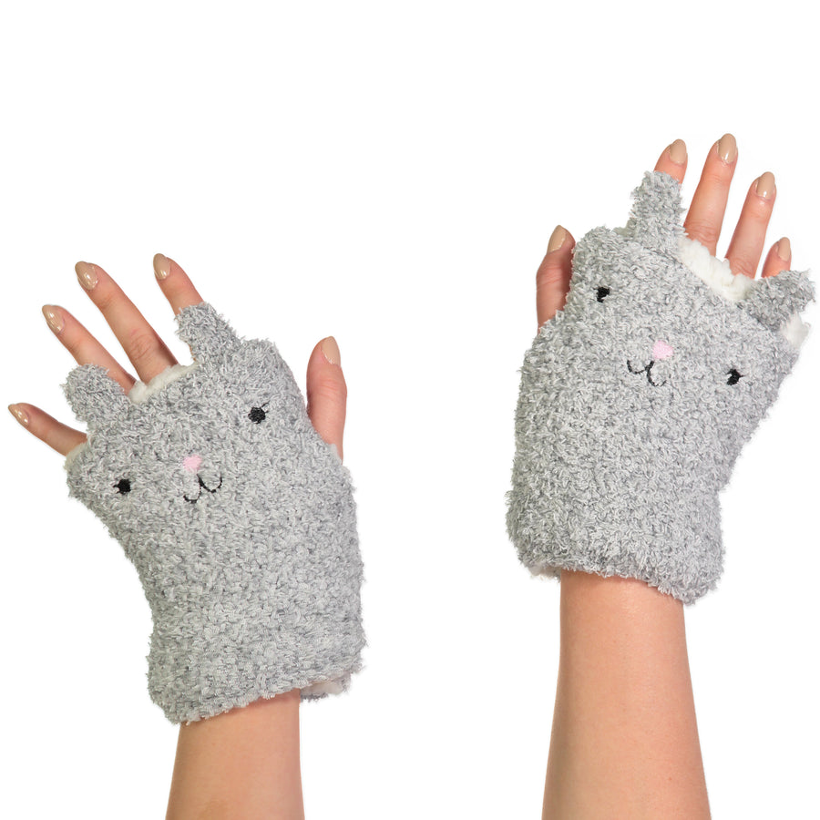 Women's Kitty Cat Fingerless Gloves with Pop-up Ears