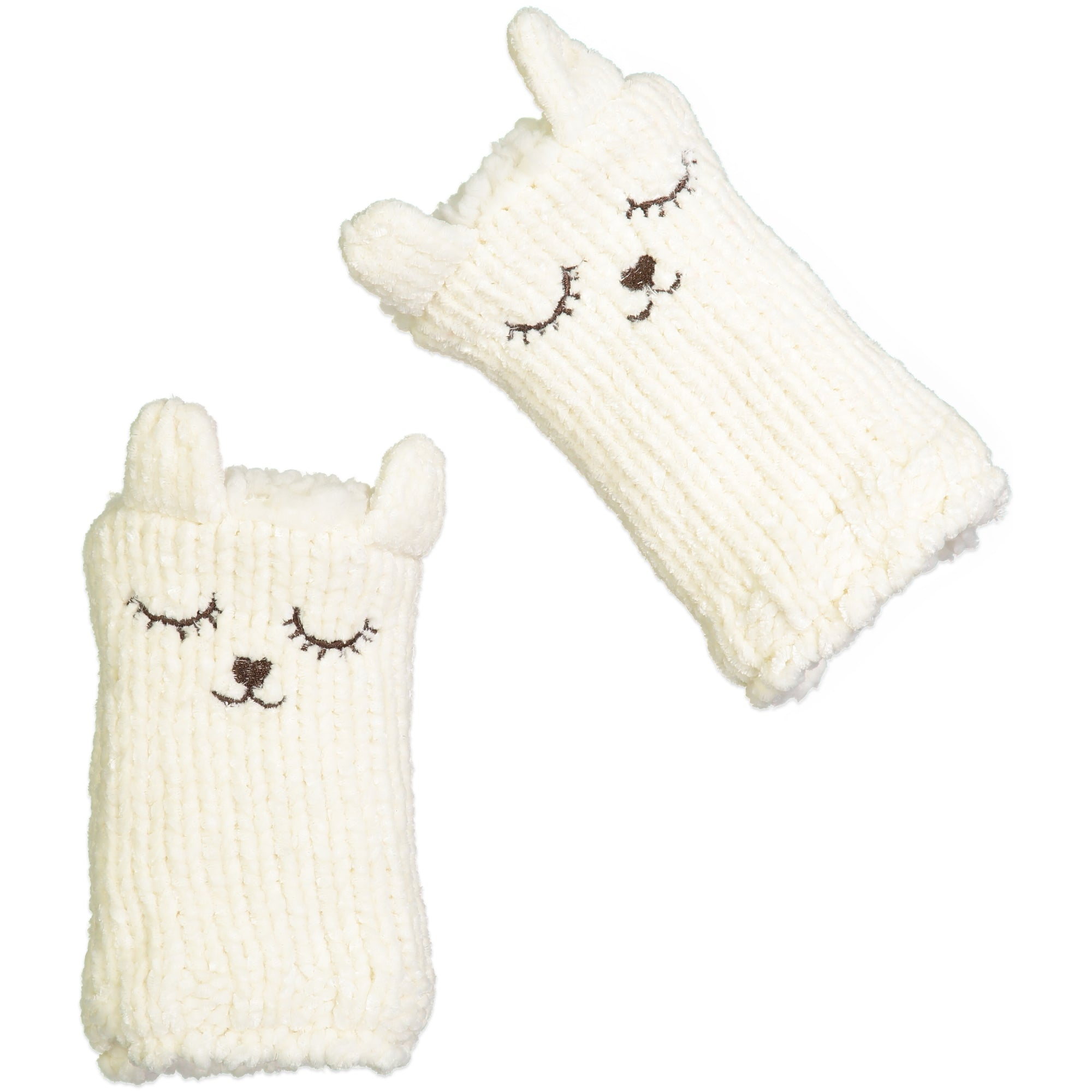 Women's Bear Chenille Fingerless Gloves with Pop-up Ears