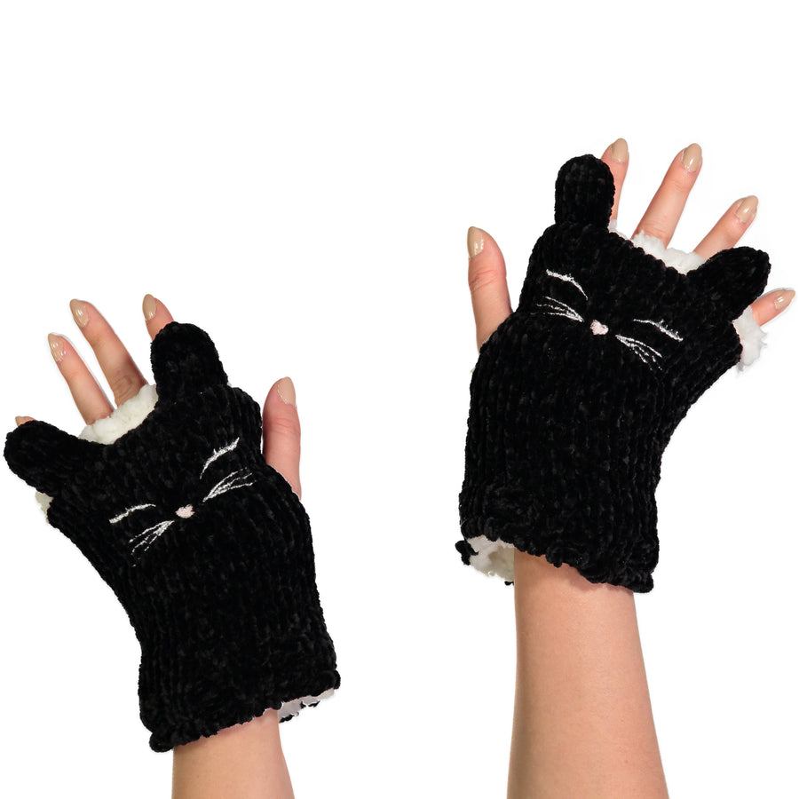 Women's Black Cat Chenille Fingerless Gloves with Pop-up Ears
