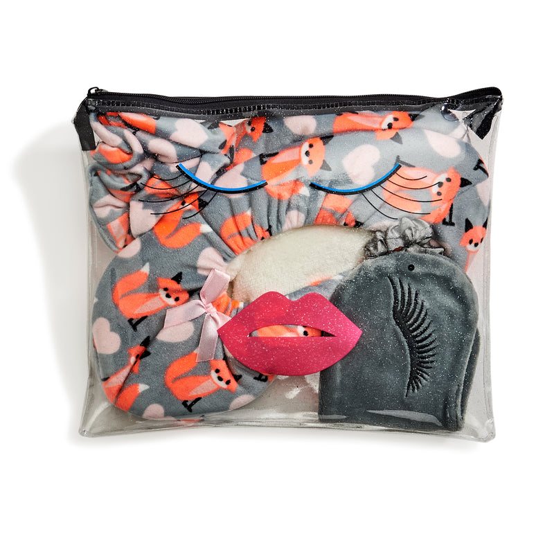 Grey fox print set that comes with eyemask, scrunchie (hair tie) and fuzzy babba slipper socks