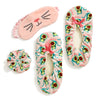 Pink sets as gifts or relaxation that comes with eyemask, scrunchy and fuzzy slipper socks