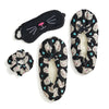 Black kitty cat print set that comes with eyemask, scrunchie (hair tie) and fuzzy babba slipper socks