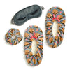 Grey sloth print set that comes with eyemask, scrunchie (hair tie) and fuzzy babba slipper socks