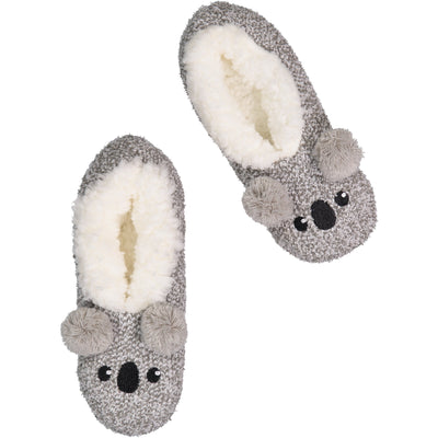 Womens Fluffy Koala Slipper Socks