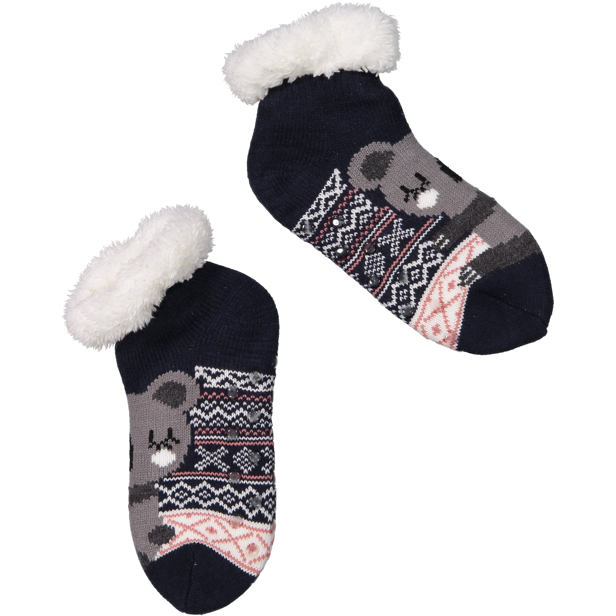 Women's Cozy Koala Slipper Socks with Sherpa Lining
