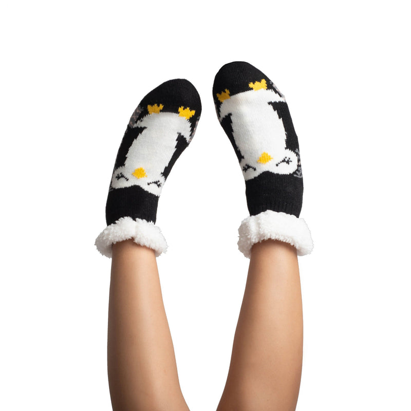 Women's Cozy Penguin Slipper Socks with Sherpa Lining