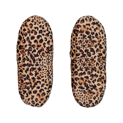 Womens Stretchy Leopard Print Slipper Socks