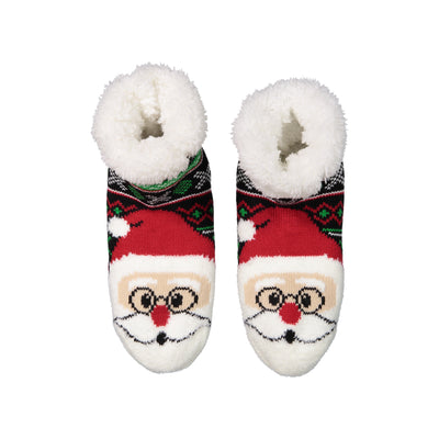 Women's Cozy Santa Holiday Knit Slipper Socks with Sherpa Lining