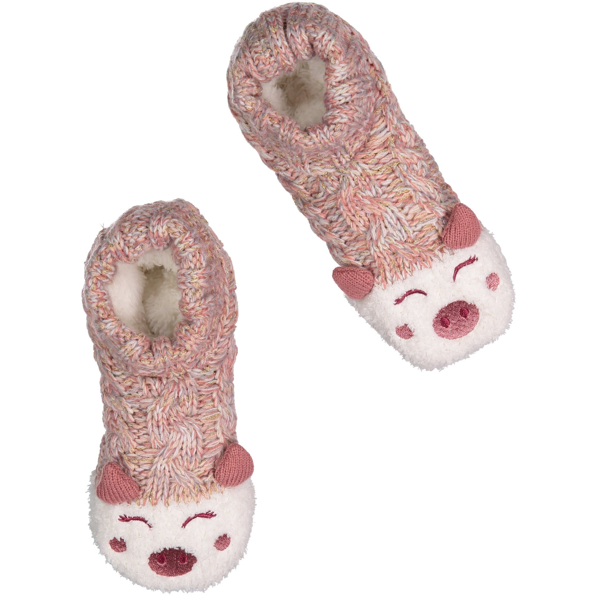 Women's Cozy Knit Slipper Socks with Piggy Face and Sherpa Lining