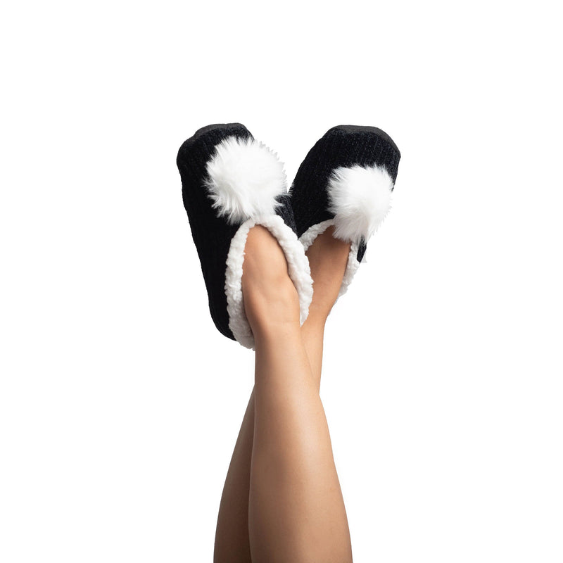 Womens Chenille Slipper Socks with Pom Pom