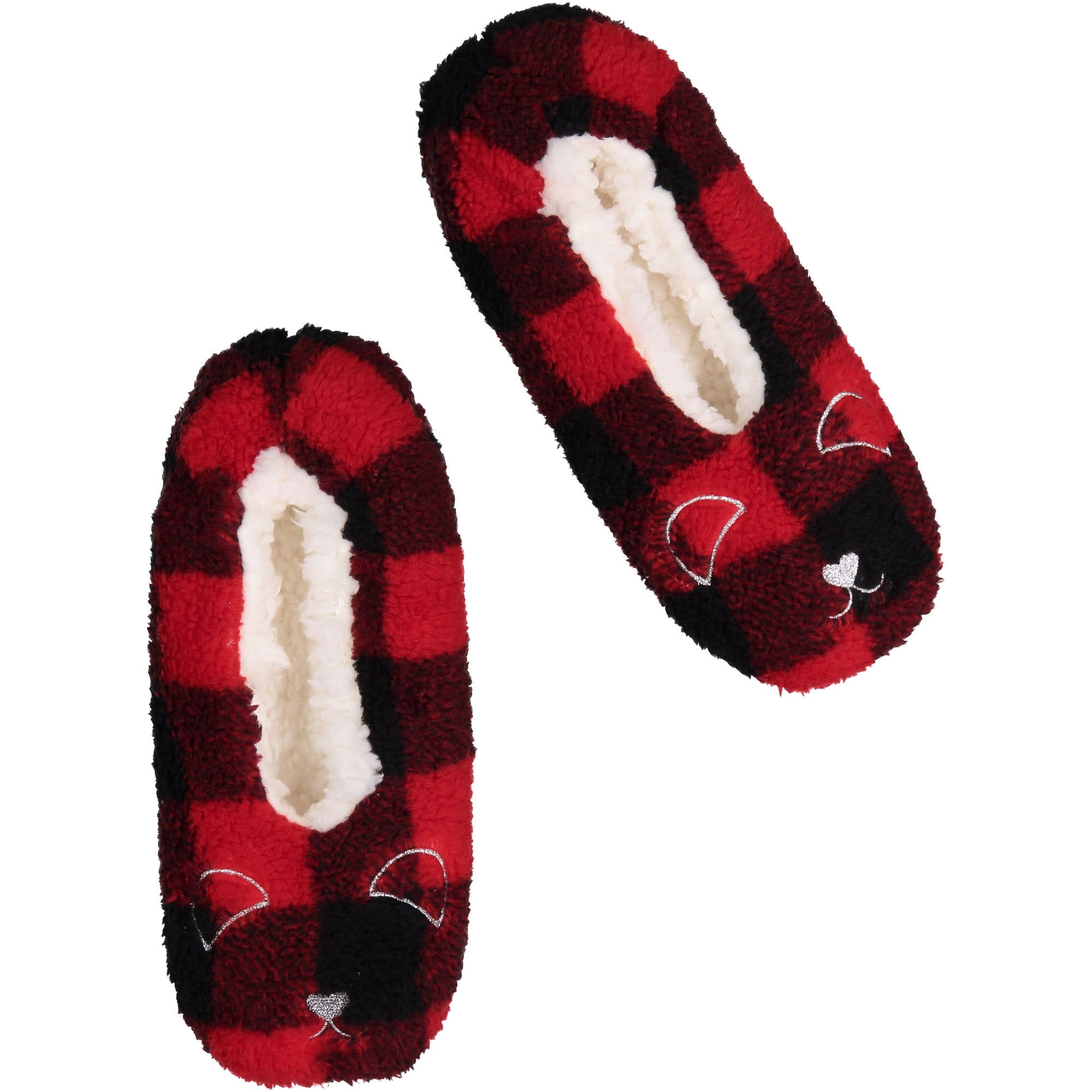 Women's Plush Slipper Sock with Plaid Print and Bear Face