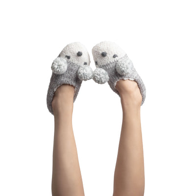 Women's Fluffy Knit Slipper Socks with Pom Poms - Reference