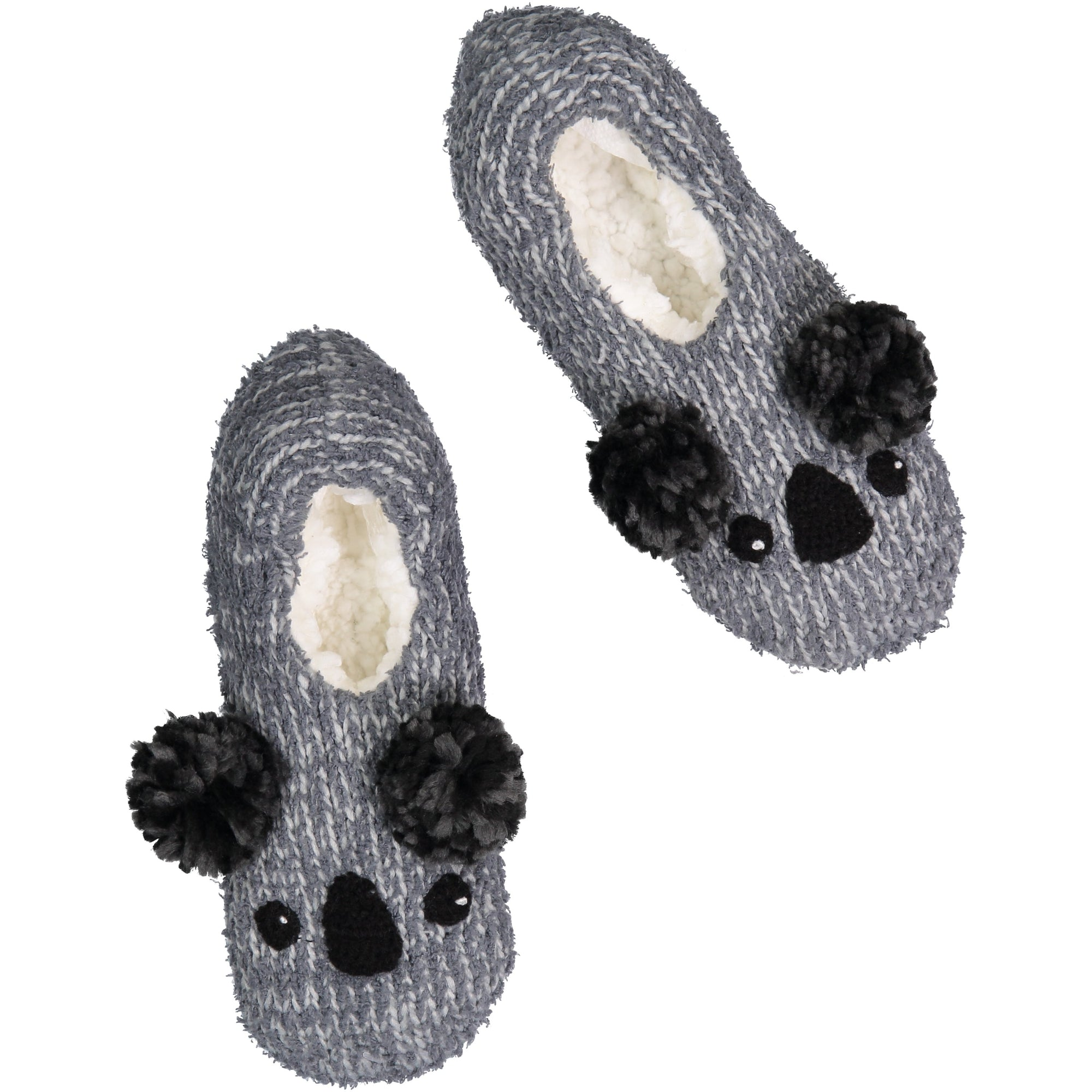 Women's Fluffy Knit Slipper Socks with Pom Poms