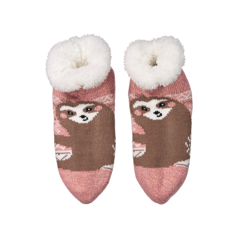 Women's Cozy Sloth Slipper Socks with Sherpa Lining