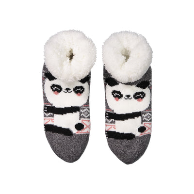 Women's Cozy Panda Slipper Socks with Sherpa Lining