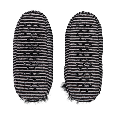 Womens Velvety Striped Slipper Socks with Pom Pom