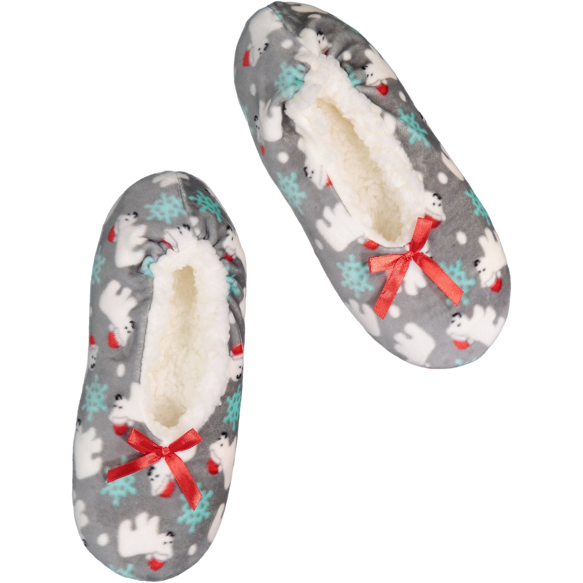 Women's Polar Bear Print Stretchy Holiday Slipper Socks