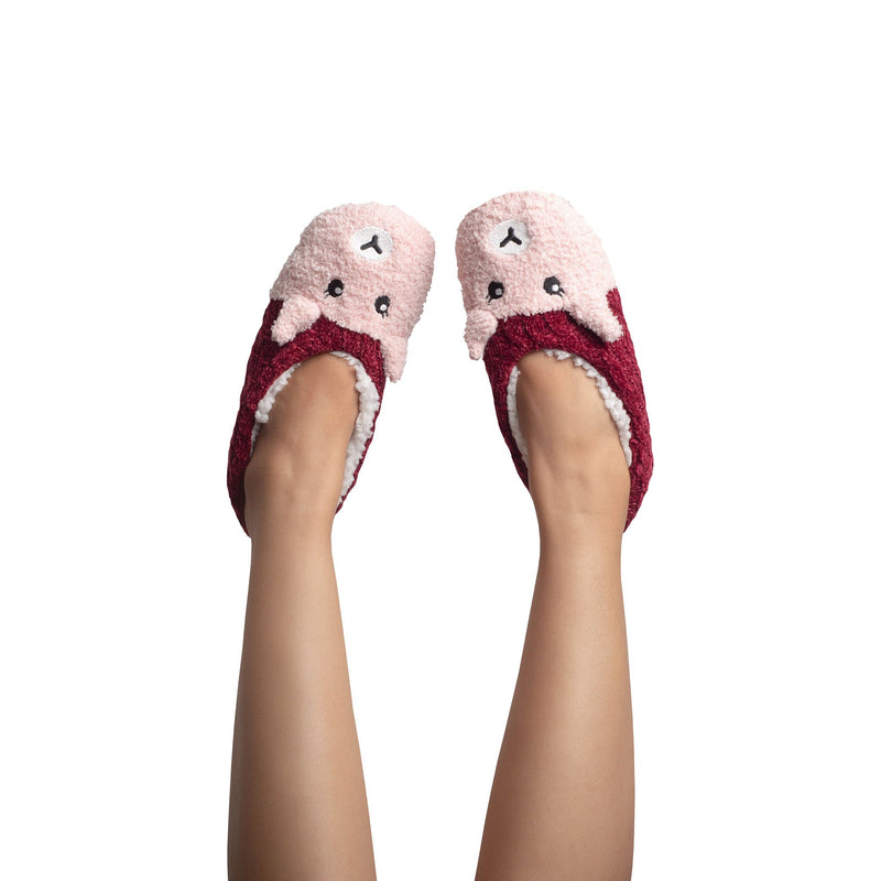 Womens Chenille Slipper Socks with Fox Face