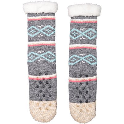 Women's Sloth Slipper Sock with Sherpa Lining