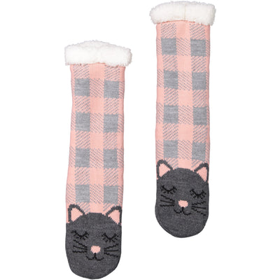 Women's Kitty Cat Slipper Sock with Sherpa Lining