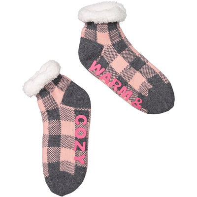 "Women's ""Warm & Cozy"" Holiday Knit Slipper Socks with Sherpa Lining"