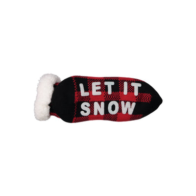 "Women's ""Let it Snow"" Holiday Knit Slipper Socks with Sherpa Lining"