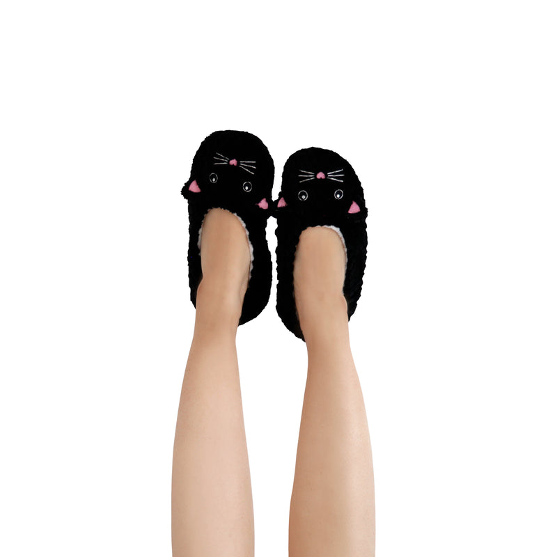Women's Lightweight Black Cat Face Slipper Socks