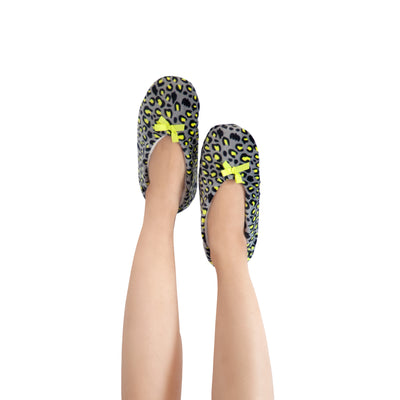 Women's Yellow Cheetah Slipper Socks