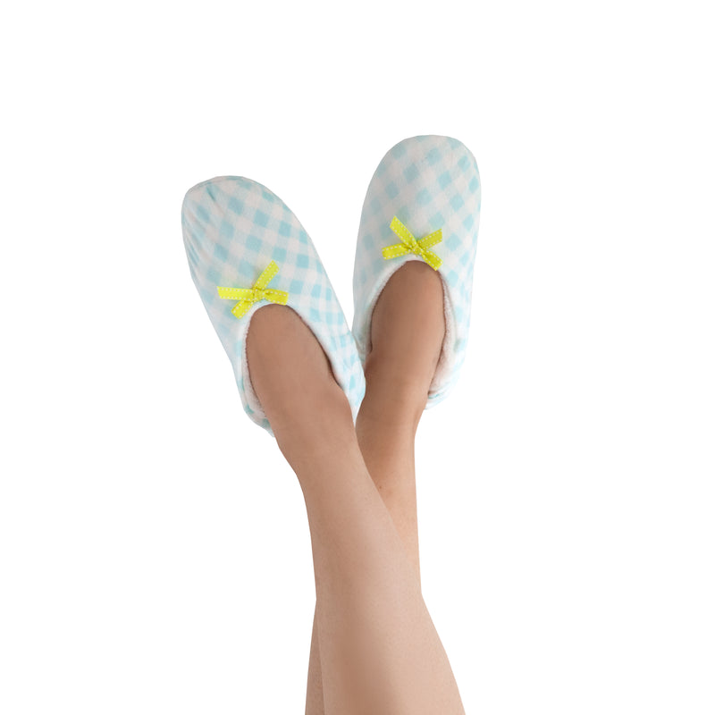 Women's Teal Gingham Slipper Socks