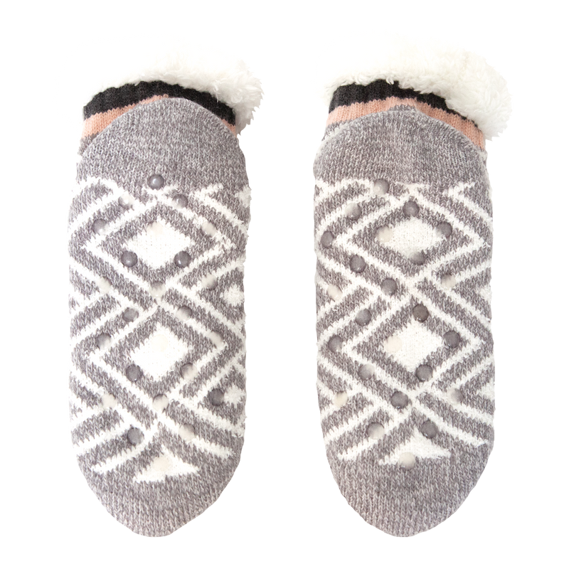 Women's Gray Diamond Print Short Slipper Sock with Sherpa Lining