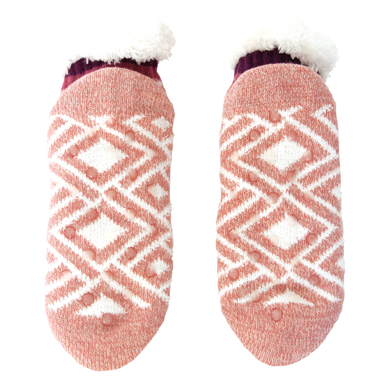 Women's Pink Diamond Print Short Slipper Sock with Sherpa Lining