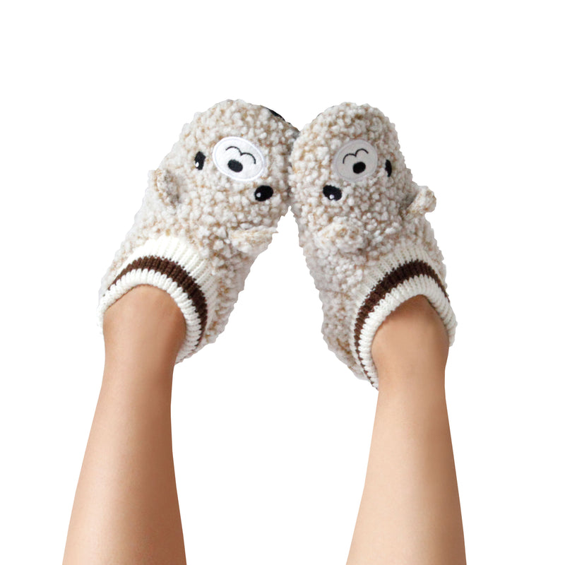 Women's Popcorn Bear Slipper Socks with Sporty Ankle