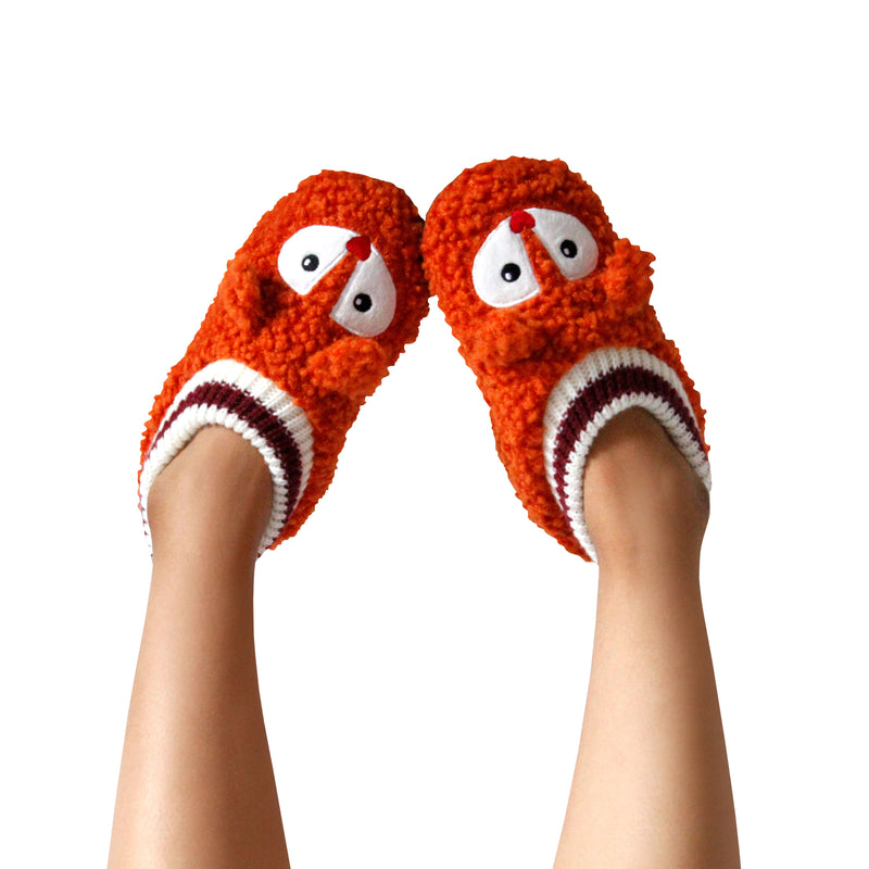 Women's Popcorn Fox Slipper Socks with Sporty Ankle