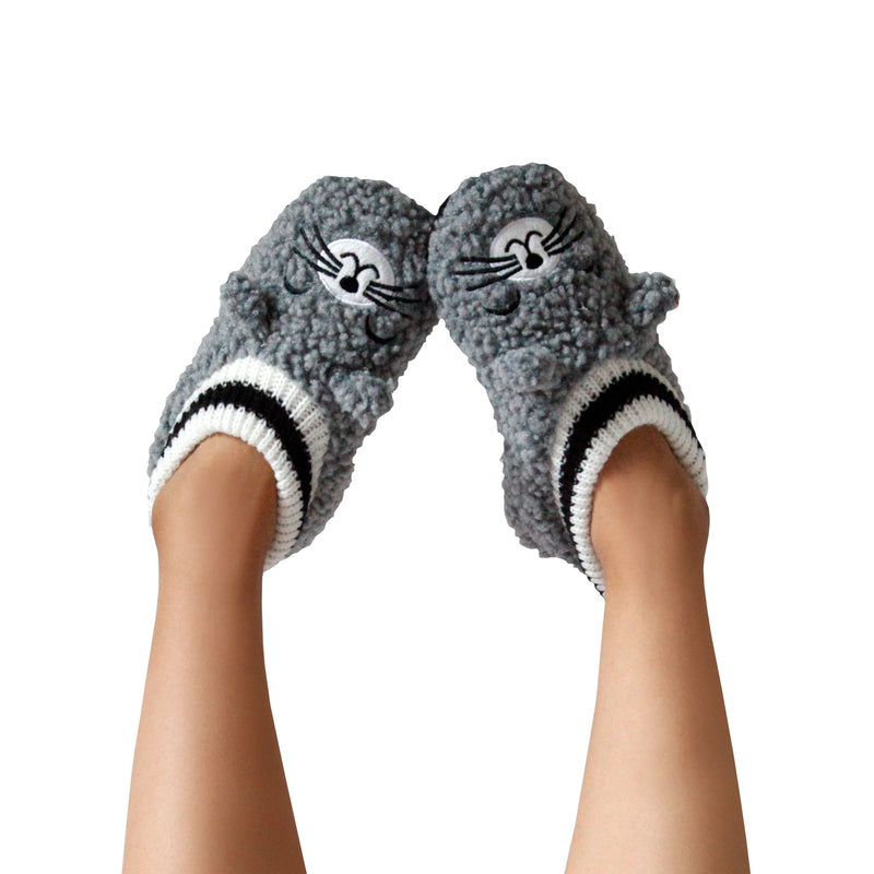 Women's Popcorn Cat Slipper Socks with Sporty Ankle