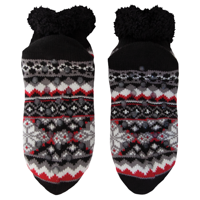 Women's Black Fair Isle Short Slipper Sock with Sherpa Lining