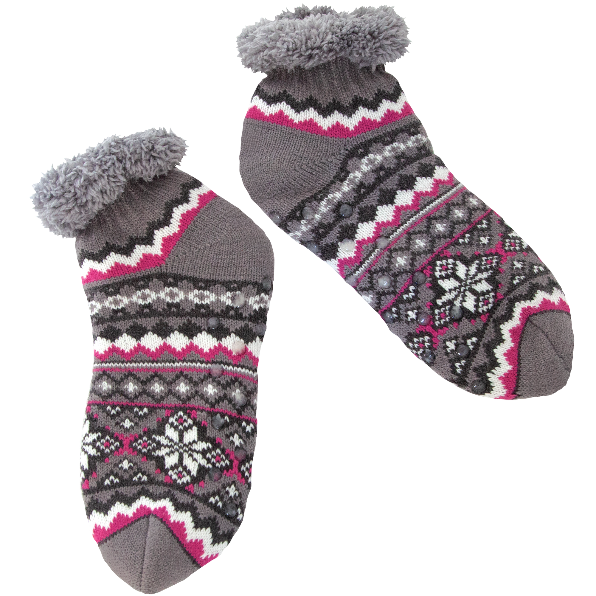 Women's Gray Fair Isle Short Slipper Sock with Sherpa Lining