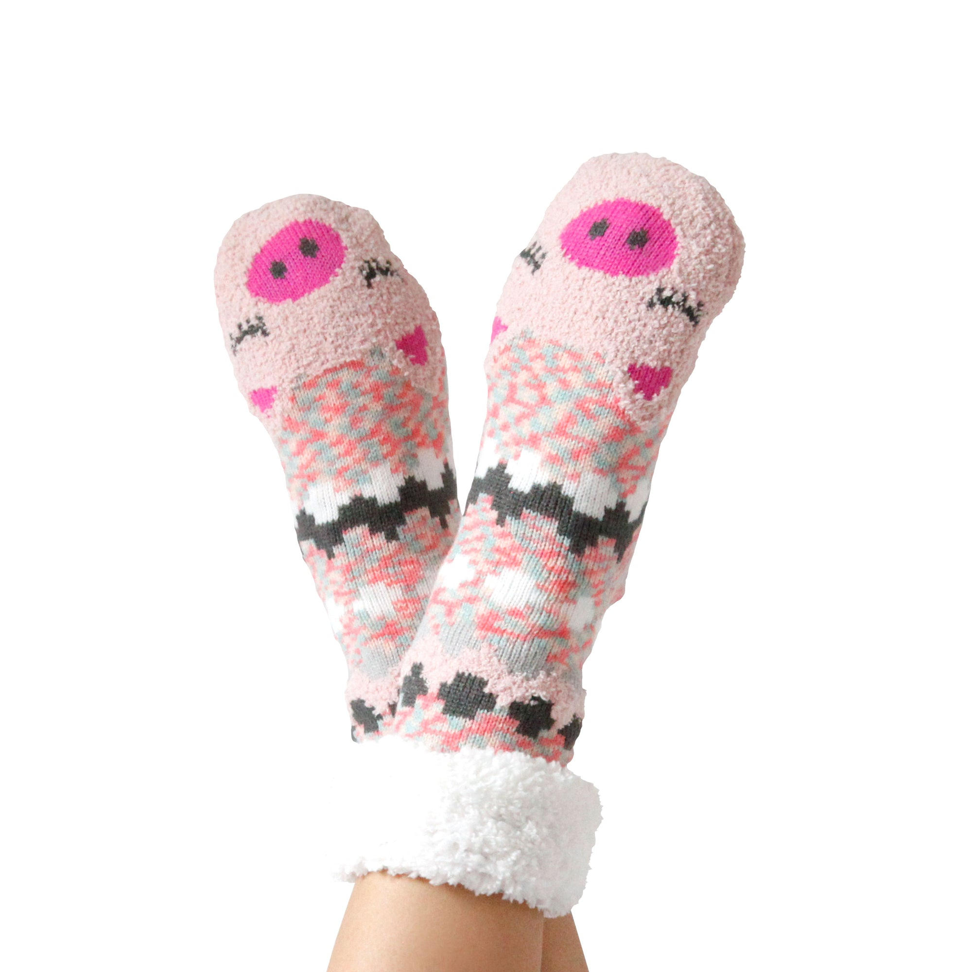 Women's Piggy Cozy Warmer Slipper Socks with Sherpa Lining