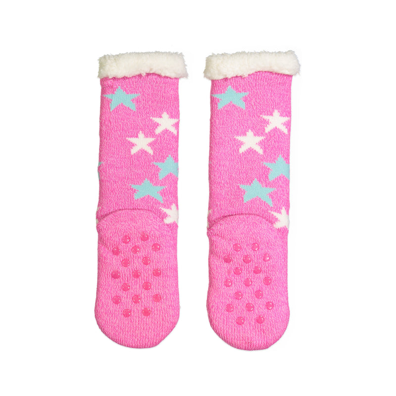 Girls Sweet Owl Slipper Sock with Sherpa Lining