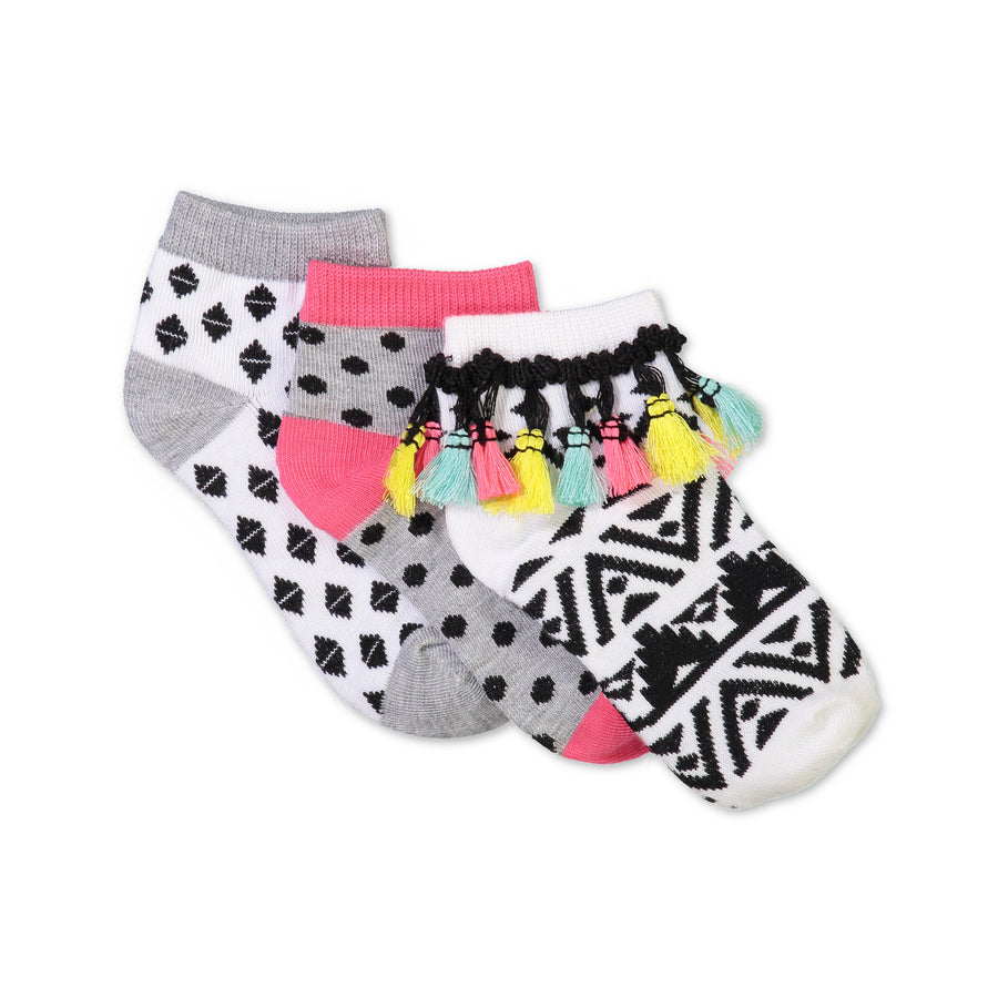 Girls 3-pack Mid-Crew Socks with Bright Tassels
