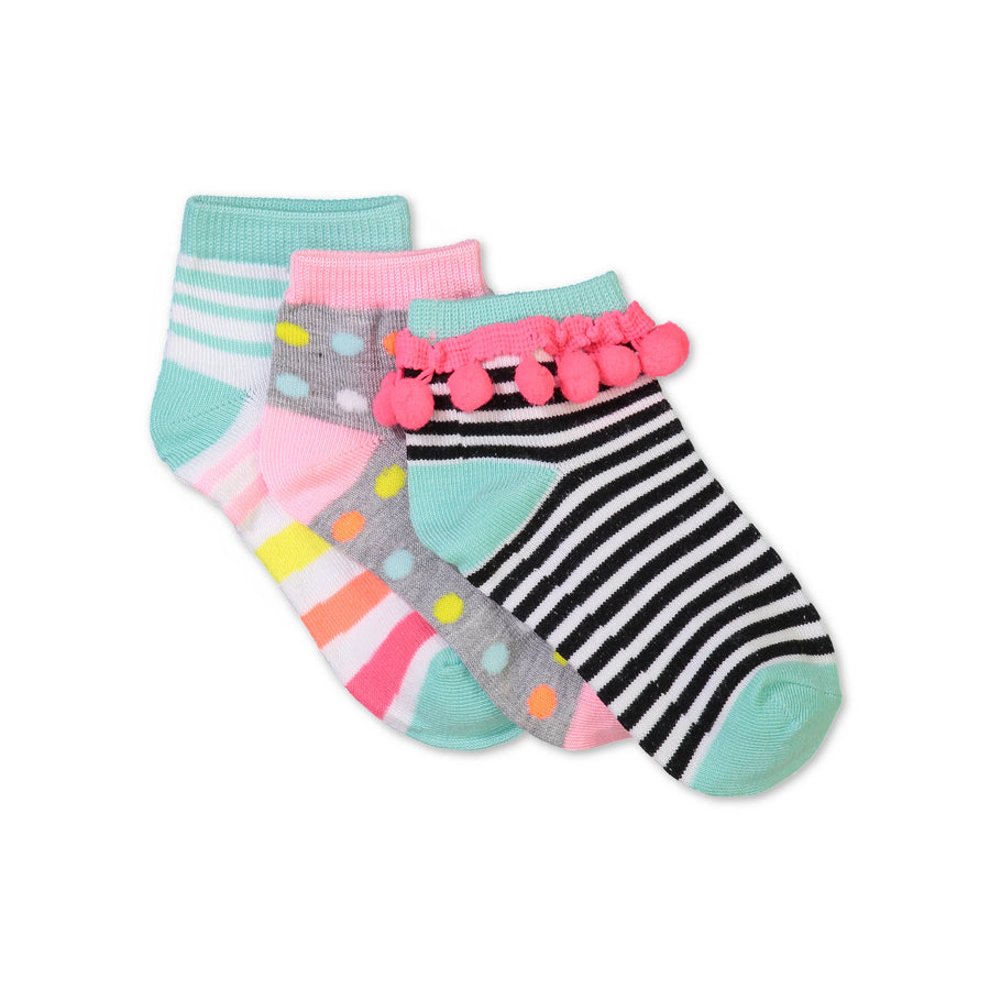 Girls 3-pack Mid-Crew Socks with Pom Poms