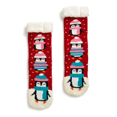 Kids Penguin Slipper Sock with Sherpa Lining