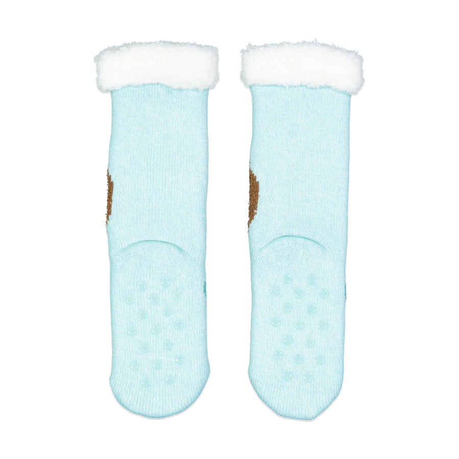 Girls Sloth Slipper Sock with Sherpa Lining