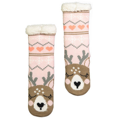 Kids Reindeer Slipper Sock with Sherpa Lining - Fuzzy Babba