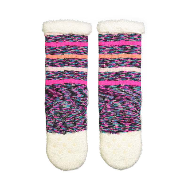 Girls Kitty Cat Slipper Sock with Sherpa Lining