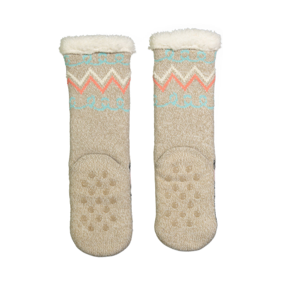 Kids Scotty Dog Slipper Sock with Sherpa Lining